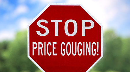 stop sign that reads price gouging