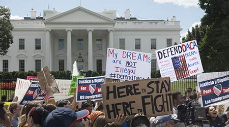 A pro-daca protest outside of the White House