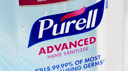 A bottle of PURRELL hand sanitizer
