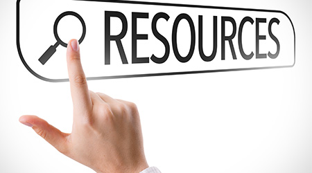 "a business person clicking on a toolbar with their hand that reads ""resources"""