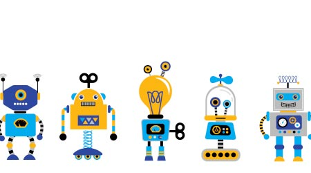 A vector image of several robots