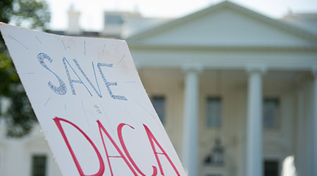 Cardboard signing calling to save DACA in front of White House