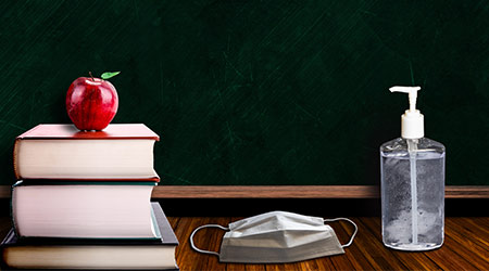 3d rendering of back to school concept during COVID-19