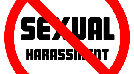 Stop sexual harassment forbidden sign negative space vector illustration