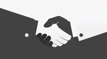 Vector image of two people shaking hands