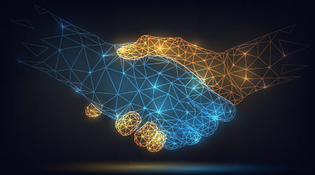 Vector image of two wire frame hands shaking hands