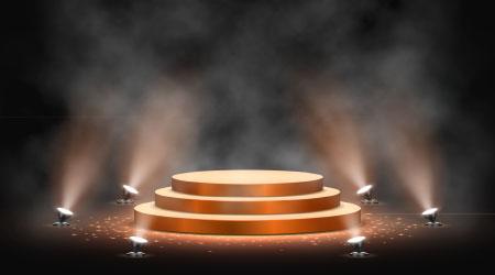 Gold podium on dark background with smoke. Empty pedestal for award ceremony. Platform illuminated by spotlights. Vector illustration.