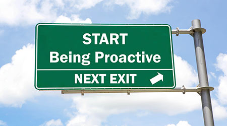 Highway signs encouraging people to be proactive by getting off at the next exit