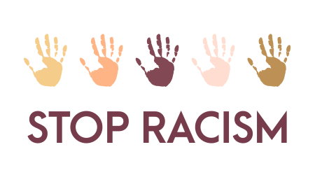 A vector image showing hands of various races while encouraging the stoppage of racism