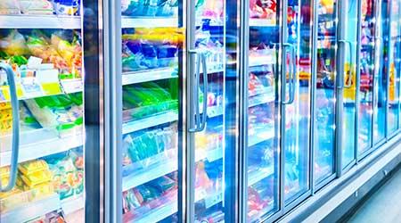 Refrigerator display cases at a supermarket