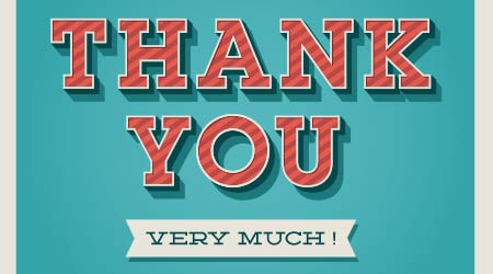 """vector image of a thank you card that says """"Thank You Very Much!"""""""