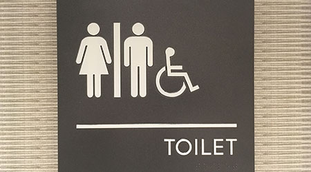 Sign outside of a restroom suggesting it accommodates men, women and the disabled
