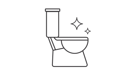 Black and white vector image of a clean toilet