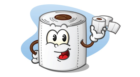 Happy Toilet Paper Cartoon Character Holding a Roll of Bathroom Tissue  T