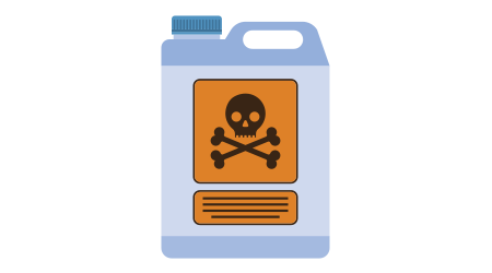 The symbol of dangerous and deadly ingredients on the cover of an animated bottle of chemcials