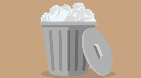 Vector image of a silver trash can