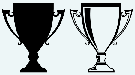 Award trophies. Image isolated on blue background
