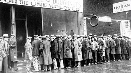 A line outside of Chicago soup kitchen during the great depression