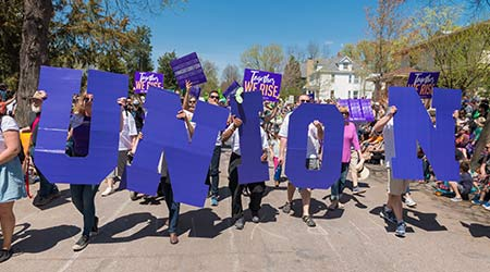 SEIU Healthcare members partake in Minneapolis' yearly May Day parade, organized by In the Heart of the Beast Puppet and Mask Theatre.