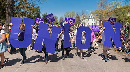 SEIU Healthcare members partake in Minneapolis' yearly May Day parade, organized by In the Heart of the Beast Puppet and Mask Theatre.  N