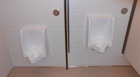 two waterless urinals