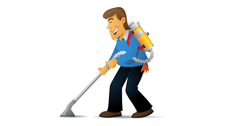 A cartoon man cleaning with a backpack vacuum cleaner.
