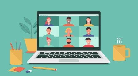 Vector image of a virtual meeting