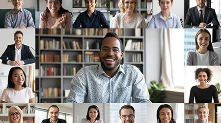 Many portraits faces of diverse young and aged people webcam view, while engaged in video conference online meeting. Group video call application easy usage concept