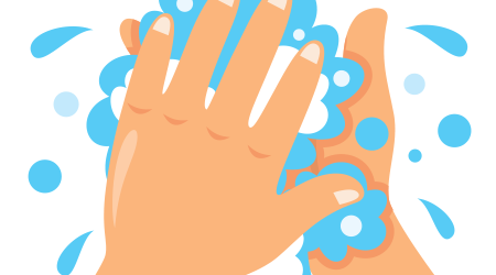 Vector image of person washing their hands with soap and water