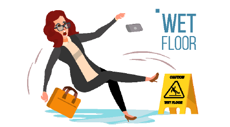 Vector image of a woman slipping on a floor despite sign warning of wet surfaces