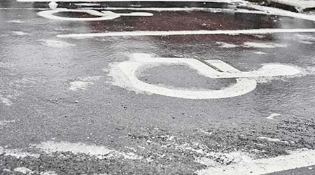 Icy parking lot