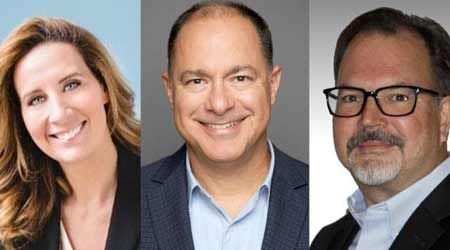 Three business professionals and their headshots