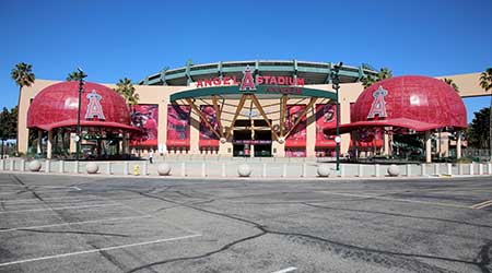 Anaheim, California - USA - March 1, 2021: Angel Stadium of Anaheim, originally known as Anaheim Stadium and later Edison International Field of Anaheim, is a modern-style ballpark.
