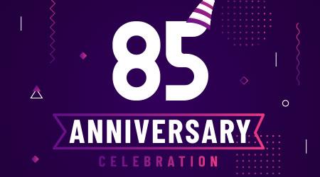 85 years anniversary greetings card, 85 anniversary celebration background