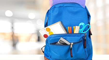 Backpack full of school supplies