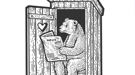 Bear reading newspaper in rural wooden outdoor toilet sketch engraving vector illustration. T-shirt apparel print design. Scratch board imitation. Black and white hand drawn image.