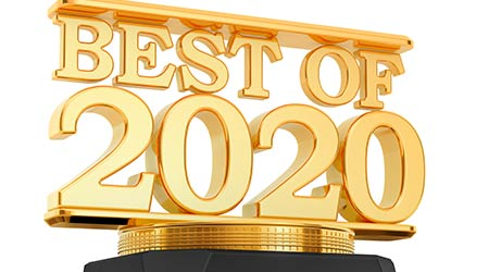 Golden Award, best of 2020 concept. 3D rendering isolated on white background