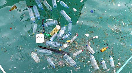 Plastic bottles littered in water