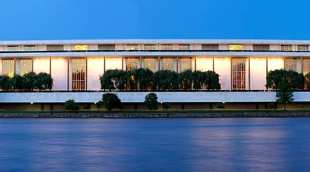 Washington DC - June 7th 2016: John F. Kennedy Center for the Performing Arts in Washington DC is a performing arts center located beside the Potomac and adjacent to the Watergate Complex.