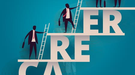 a concept for career growth involving outlines of people climbing the proverbial ladder