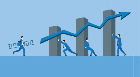 Teamwork and business growth concept. Business leader hold a ladder and run to the growing bar economic graph with an arrow up. Supporting by business people teamwork holding chart in successful way.
