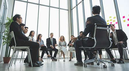 Business People Meeting Conference Discussion Corporate Concept in office. Team of new-age Multiethnic Diverse Busy Business People in seminar Concept.