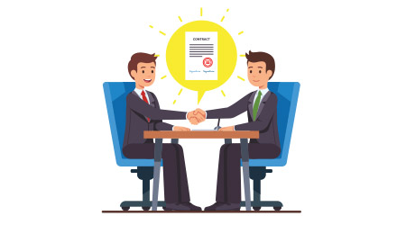 Business partnership beginning. Businessman partners shaking hands after signing contract agreement. Closing deal sitting at negotiations table. Flat style cartoon vector isolated illustration.
