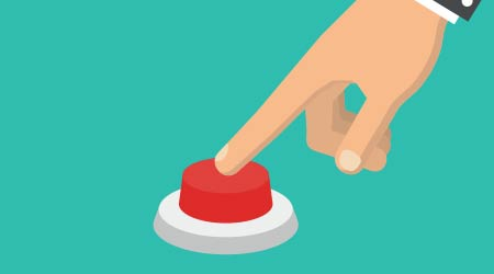 pushing red button