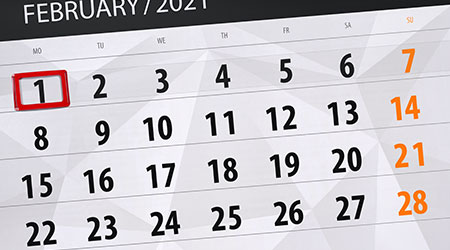 Calendar planner for the month february 2021, deadline day, 1, monday.