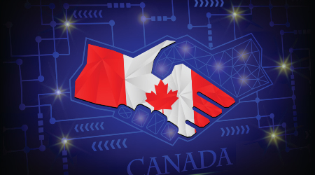 Handshake logo made from the flag of Canada.