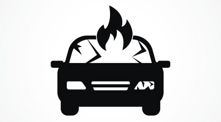 Burning car icon. Trendy Burning car logo concept on white background from Insurance collection. Suitable for use on web apps, mobile apps and print media.