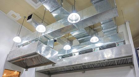 The restaurant ventilation system. Airflow fan for ventilate vacuum odor.