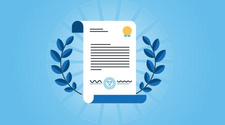 Flat line design website banner for certificate, diploma. Modern vector illustration for web design, marketing and print material.