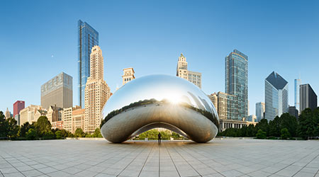 CHICAGO, ILLINOIS/USA-JUNE 30 2013: Panoramic image of the Cloud Gate or The Bean in the morning June 30 2013 in Millennium Park, Chicago, Illinois